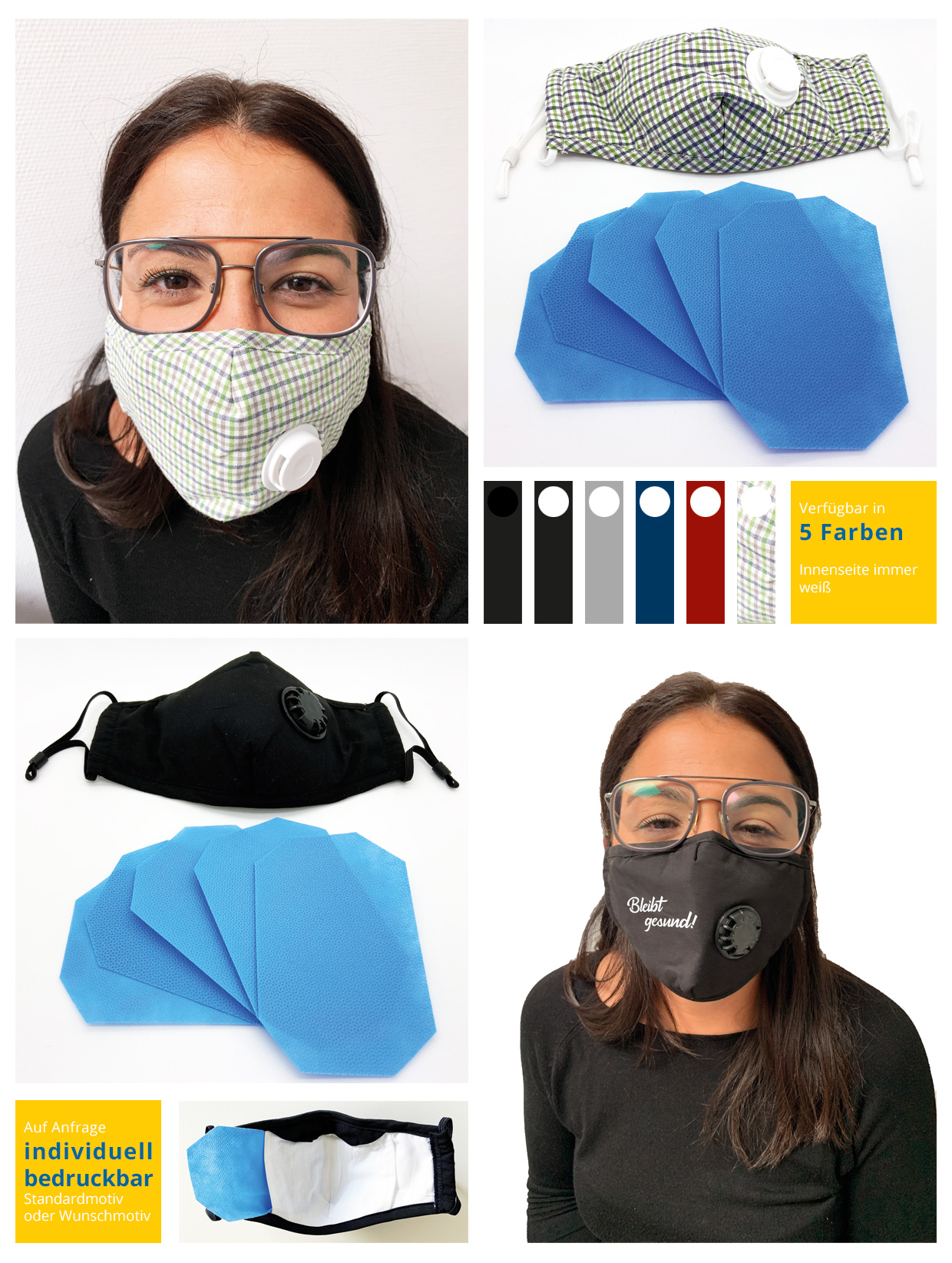 Mouth and nose protection face mask made of cotton on young woman. In black or green checkered. Set with 5 filter fleece insertion filters. Individually printable.