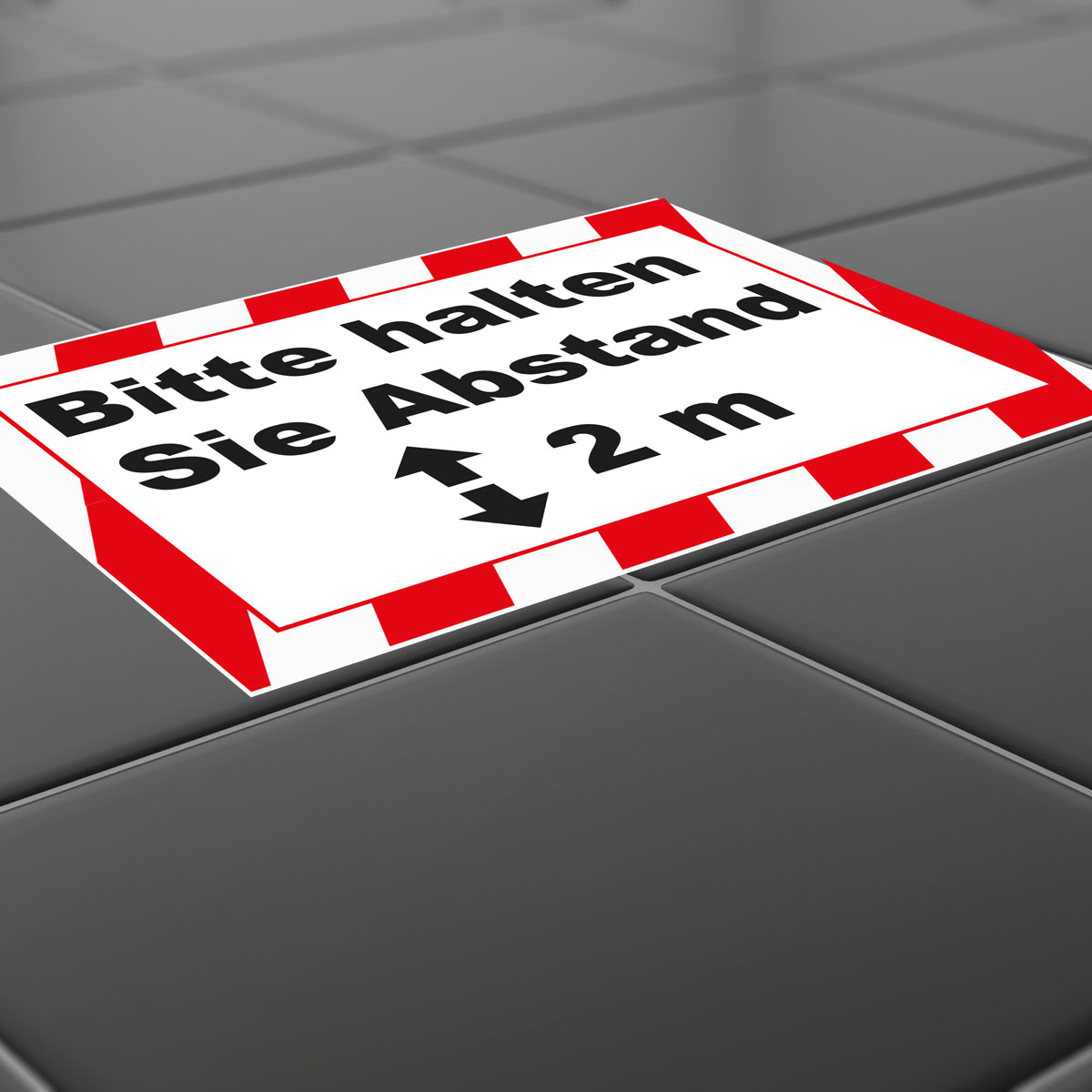 Floor sticker with indication of safety distance