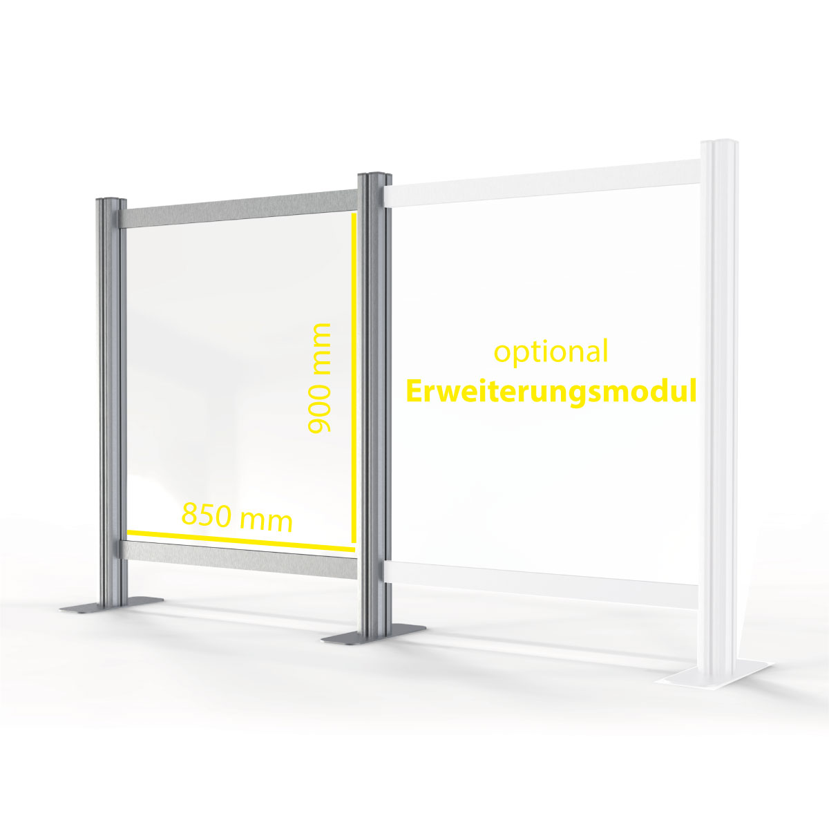 Sneeze guard made of acrylic glass with aluminum frame. Size S: 850 x 900 mm
